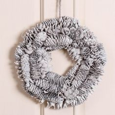White Pinecone Winter Wreath 12.5