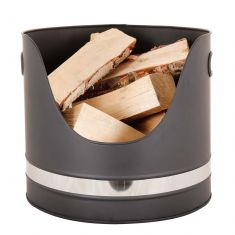 Chrome Band Kindling Bucket