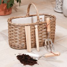 Antique Wash Gardening Basket With Tools