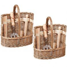 Set of 2 Natural Wicker Garden Tool Storage Baskets