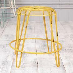 Industrial Yellow Metal Stool