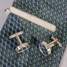Round Mirror Cufflinks and Tie Clip Set