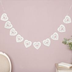 Cream Love Heart Paper Bunting