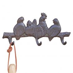 Cast Iron Rooster Garden Wall Hook Board