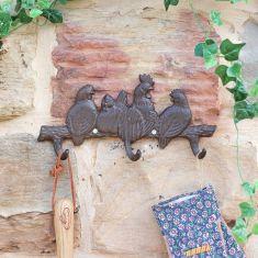 Cast Iron Rooster Garden Wall Hook Board