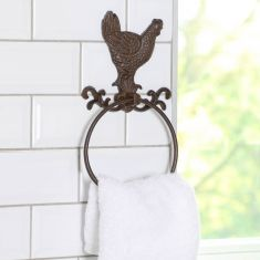 Cast Iron Rooster Towel Holder Ring
