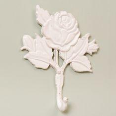 Shabby Chic White Rose Wall Hook