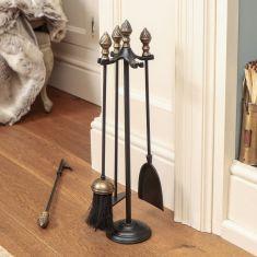 4pc Brass Acorn Fireside Companion Set