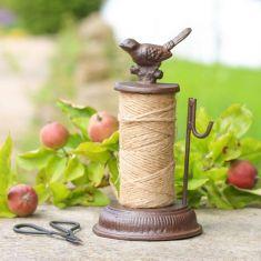 Cast Iron Bird Garden String Dispenser with Scissors