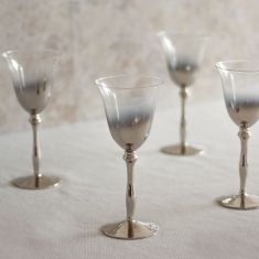 Set of 4 Silver Plated Wine Glasses