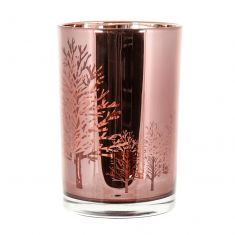 Metallic Rose Gold Hurricane Candle Holder
