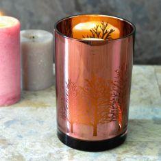 Metallic Rose Gold Hurricane Candle Holder