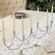 Silver Wave Taper Candle Holder