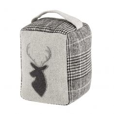 Grey Tweed Stag Fabric Door Stop