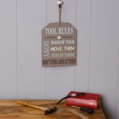 Wooden Tool Rules Sign