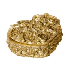 Golden Roses Heart Shaped Trinket Box