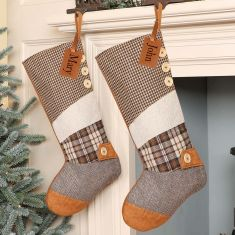 Personalised Brown Patchwork Christmas Stocking