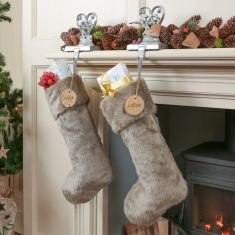 Grey Faux Fur Christmas Stocking with Personalised Tag