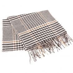 Fawn & Mahogany Shepard's Check Tassel Scarf