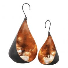 Set of 2 Hanging Copper Teardrop Candle Holders