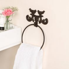 Ornate Perched Birds Towel Ring