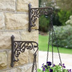 Set of 2 Country Cottage Hanging Flower Basket Brackets