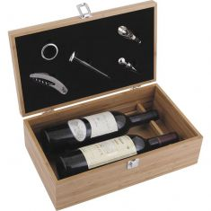 Bamboo Bottle Box & Wine Accessories Gift Set