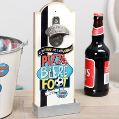 Pizza, Beer and Football Bottle Opener with Cap Catcher