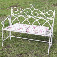 Grey Ornate Scrolled Garden Bench