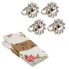 Set of 4 Botanical Flower Napkin Rings & Napkins