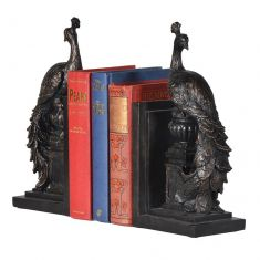 Bronze Effect Peacock Bookends