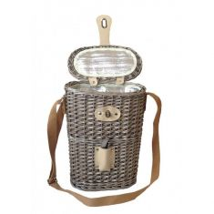 Wicker Two Bottle Carrier with Canvas Carry Strap