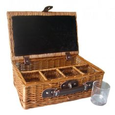 Willow Hamper with 4 Whiskey Glasses