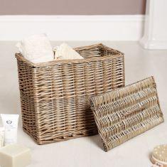 Grey Washed Willow Storage Basket