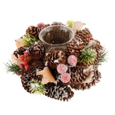 Frosted Berries Christmas Tealight Candle Holder