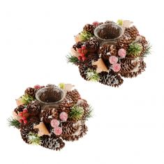 Set of 2 Frosted Berries Christmas Tealight Candle Holders