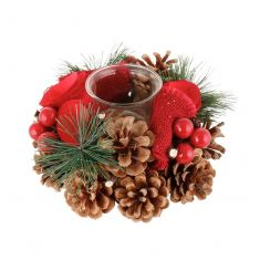 Luxury Red Rose Christmas Tea Light Candle Holder