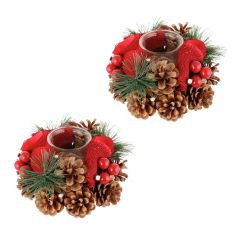 Set of 2 Red Rose Christmas Tea Light Candle Holders