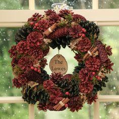 Personalised Luxury Cinnamon Pine Christmas Wreath 14