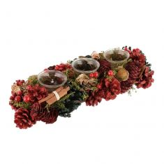 Cinnamon Pine Christmas Trio Tea Light Candle Holder