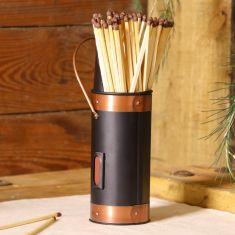 Copper & Black Matches Holder