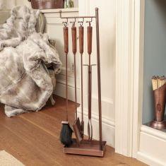 Contemporary Copper Fireplace Tool Set