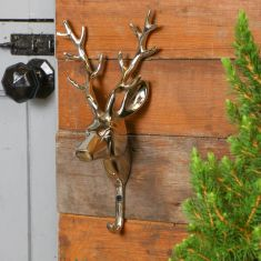 Extra Large Brushed Nickel Stag Bust Wall Hook