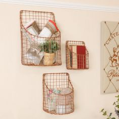 Set of 3 Wall Mounted Copper Storage Baskets