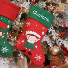 Helga the Elf Children's Personalised Christmas Stocking