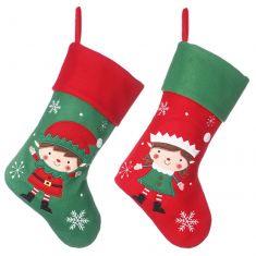 Set of Boy and Girl Elf Christmas Stockings