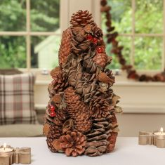 Set of 2 Rustic Pine Cone & Red Berry Christmas Table Decorations