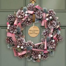 Personalised Festive Pink Frosted Wreath 14
