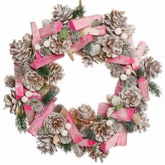 Festive Pink Frosted Wreath 14