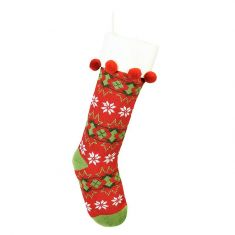 Red Fair Isle Knitted Christmas Stocking